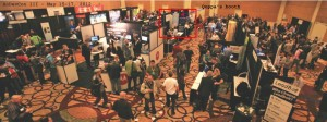 AnDevCon III show floor from above - Qoppa's booth noted.